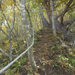 二口登山道の補助ロープ