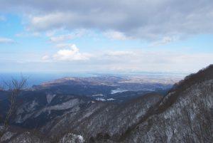 二口登山道からの見る日本海と庄内平野