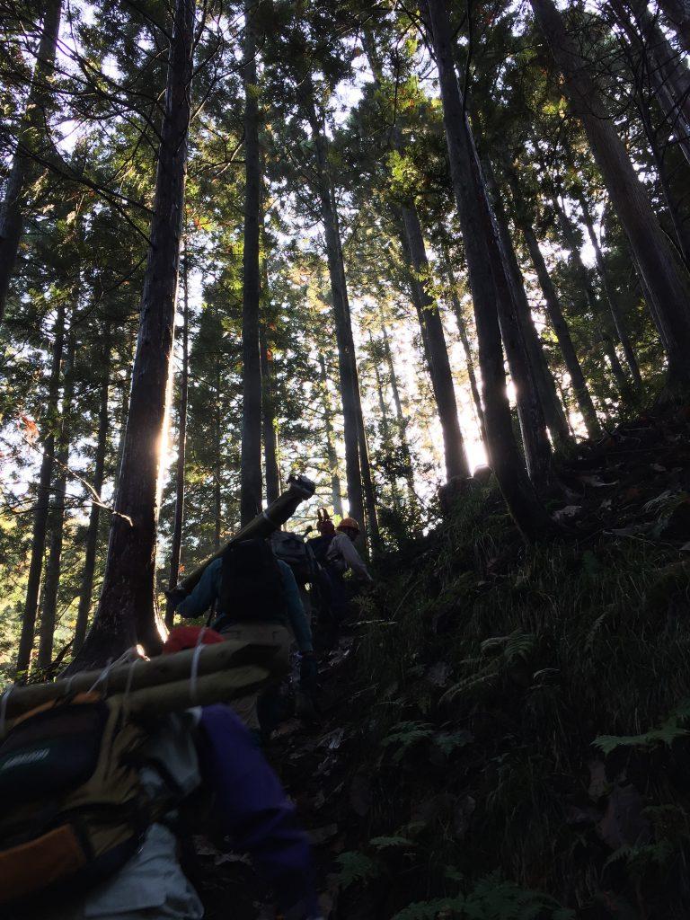 杭を運ぶ -登山道整備-